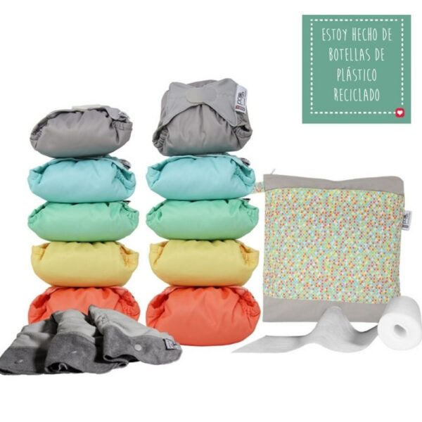Pack 10 pañales de tela Pop In, desde los 3,18kg, transpirable - Amatriuska