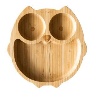 Plato Eco Rascals Bamboo búho, base de silicona