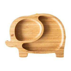Plato Eco Rascals Bamboo elefante, base de silicona